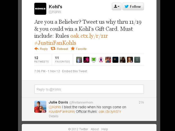 Kohl's Justin Bieber's Biggest Fan Twitter Sweepstakes