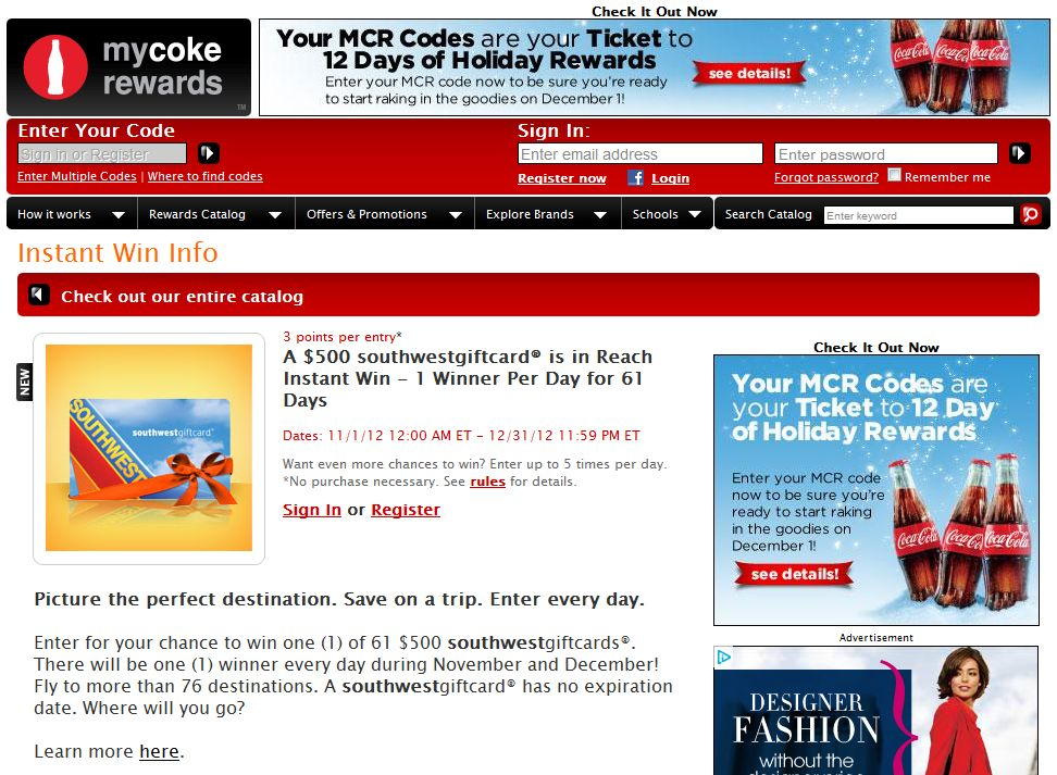 2012 My Coke Rewards Instant Win Game