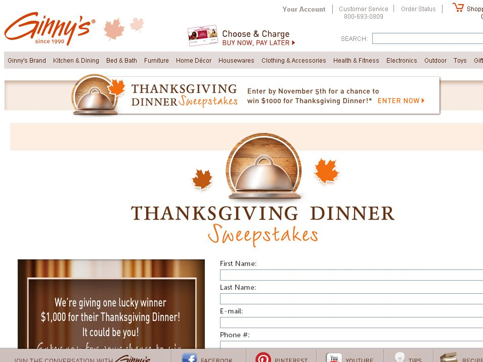 Ginny's Thanksgiving Dinner Sweepstakes