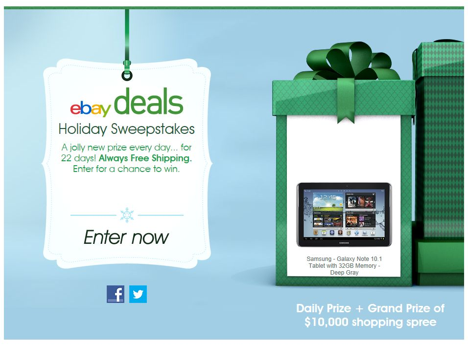 eBay Deals Holiday 2012 Sweepstakes