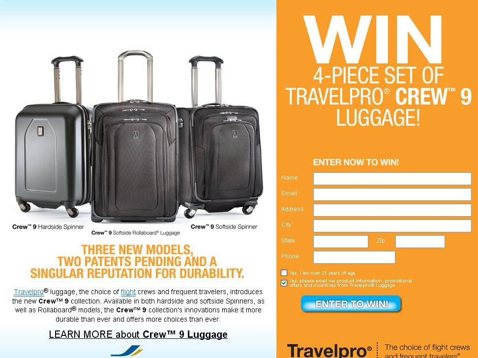 WIN A 4- Piece Set of Travelpro Crew 9 Luggage Sweepstakes