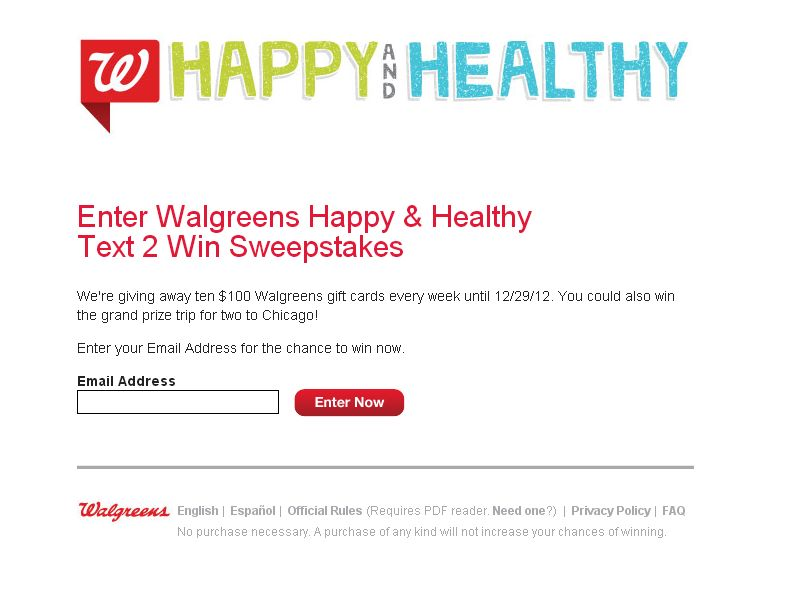 Walgreens Happy & Healthy Holiday Text 2 Win