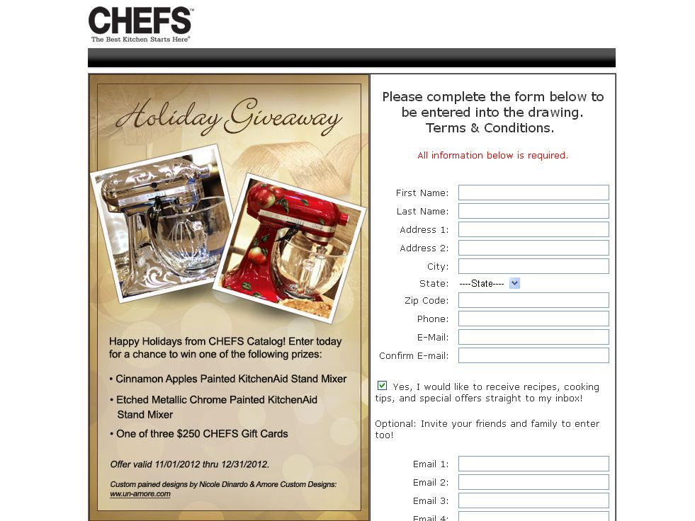 CHEFS Catalog Holiday Giveaway