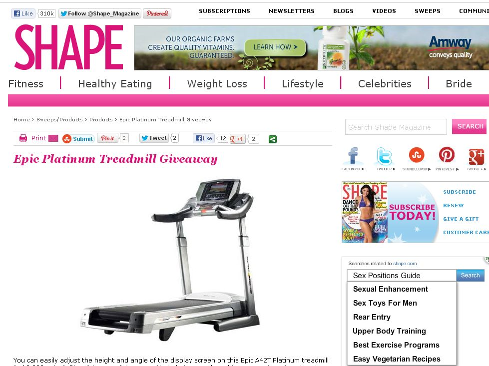 Shape Epic Platinum Treadmill Sweepstakes