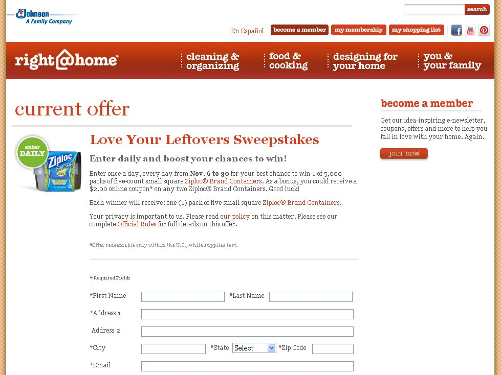 SC Johnson Love Your Leftovers Sweepstakes