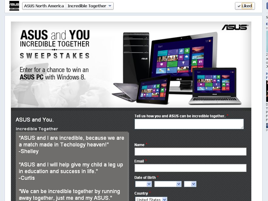 ASUS Incredible Together Official Sweepstakes