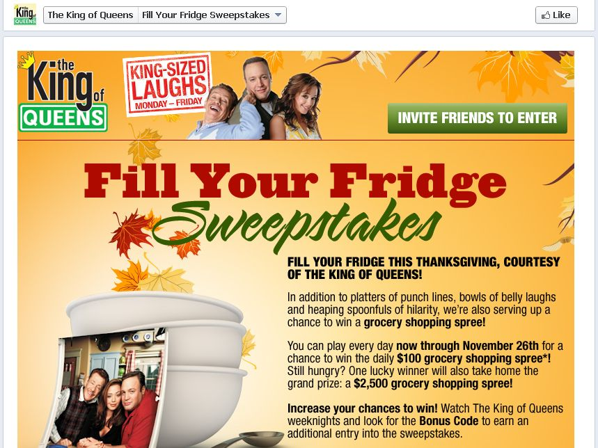 King of Queens Fill Your Fridge Sweepstakes