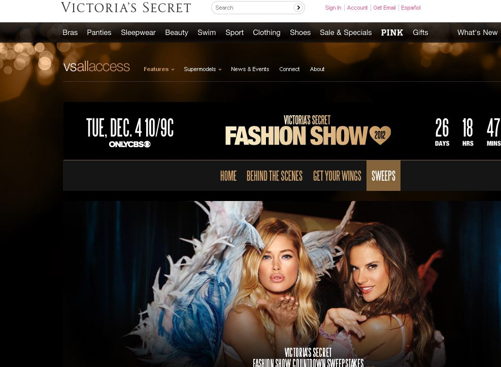 Victoria's Secret Fashion Show Countdown Sweepstakes