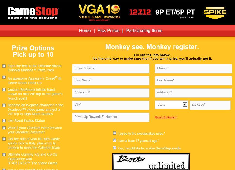 GameStop VGA10 Sweepstakes