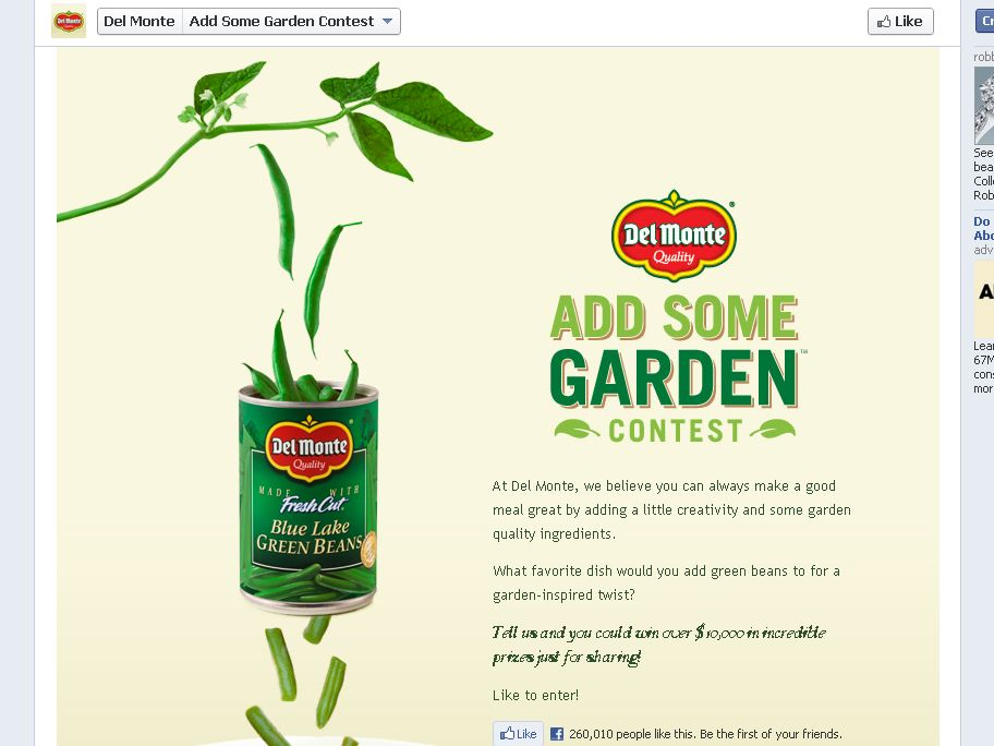 Del Monte Add Some Garden Contest and Instant Win Game