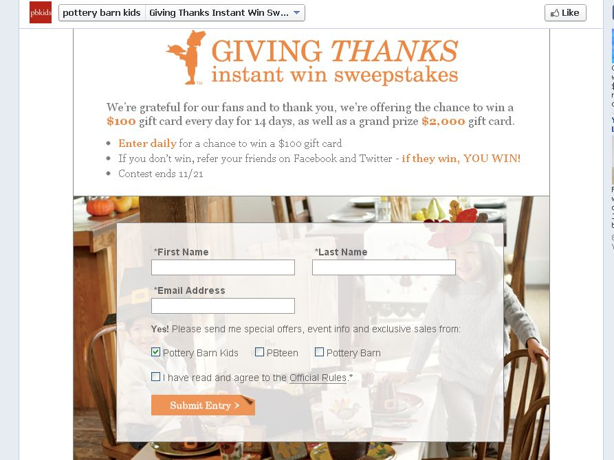 Pottery Barn Kids Giving Thanks Instant Win Sweepstakes