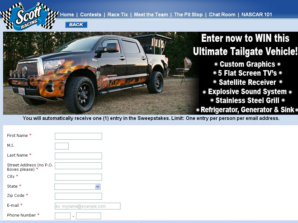 SCOTT Brand Ultimate Tailgate Vehicle Sweepstakes