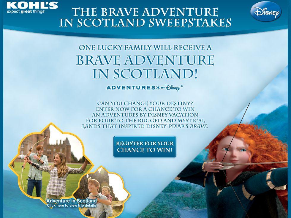 Kohl's & Disney's Brave Adventure in Scotland Sweepstakes