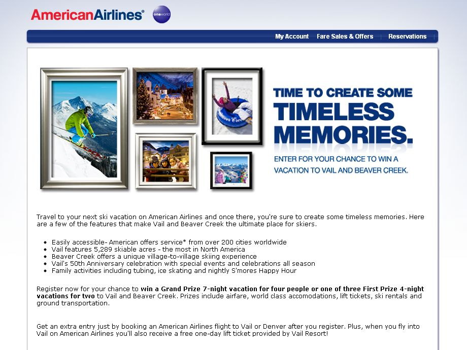 American Airlines Vail and Beaver Creek Sweepstakes