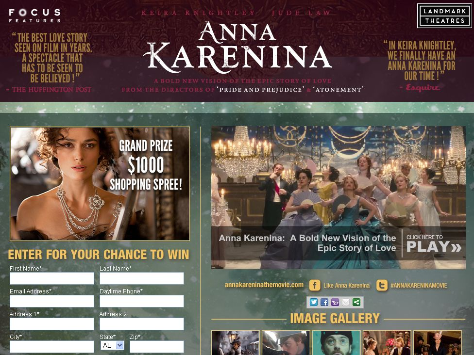 Focus Features and Landmark Theatres Anna Karenina Look of Luxury Sweepstakes