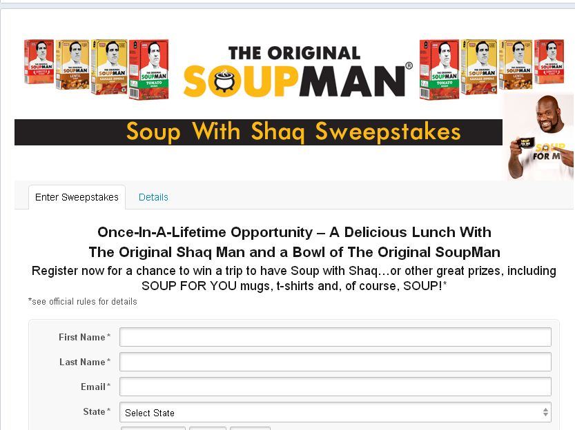 SOUP WITH SHAQ Sweepstakes