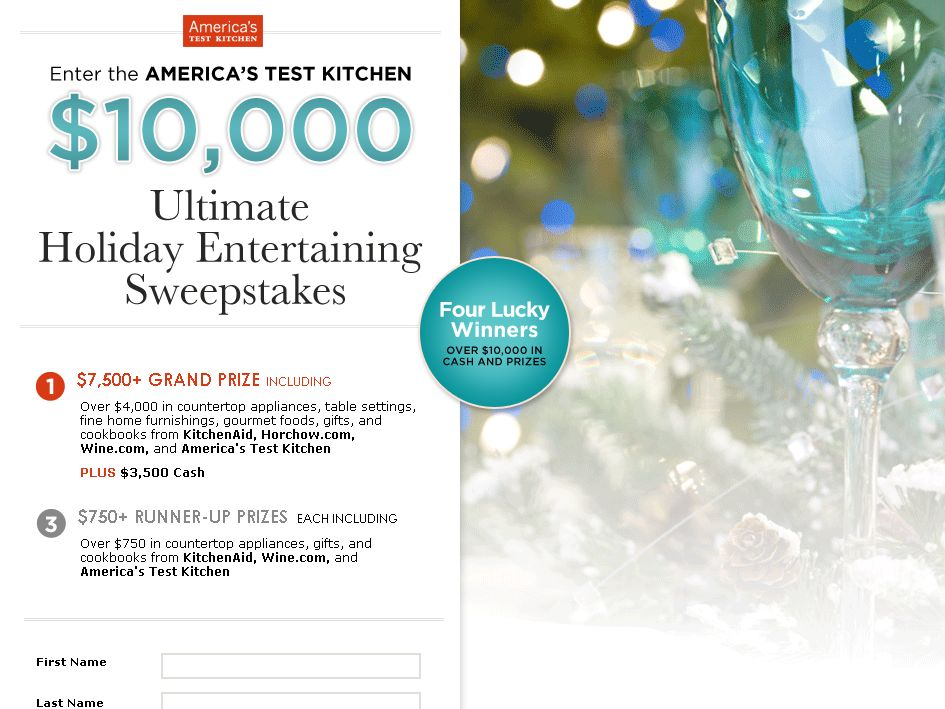 America's Test Kitchen $10,000 Ultimate Holiday Entertaining Sweepstakes