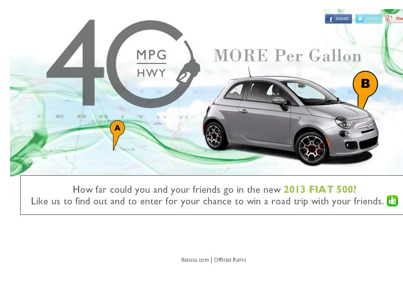 FIAT More Per Gallon Sweepstakes