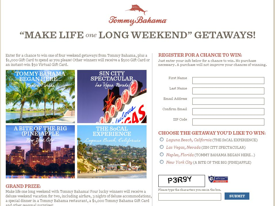 Make Life One Long Weekend Getaways Promotion