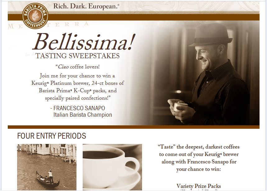 Barista Prima Bellissima! Tasting Notes Sweepstakes