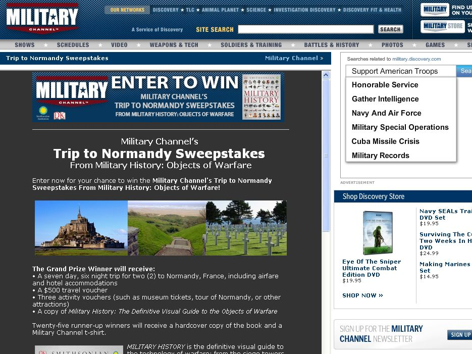 Military Channel's Trip to Normandy Sweepstakes