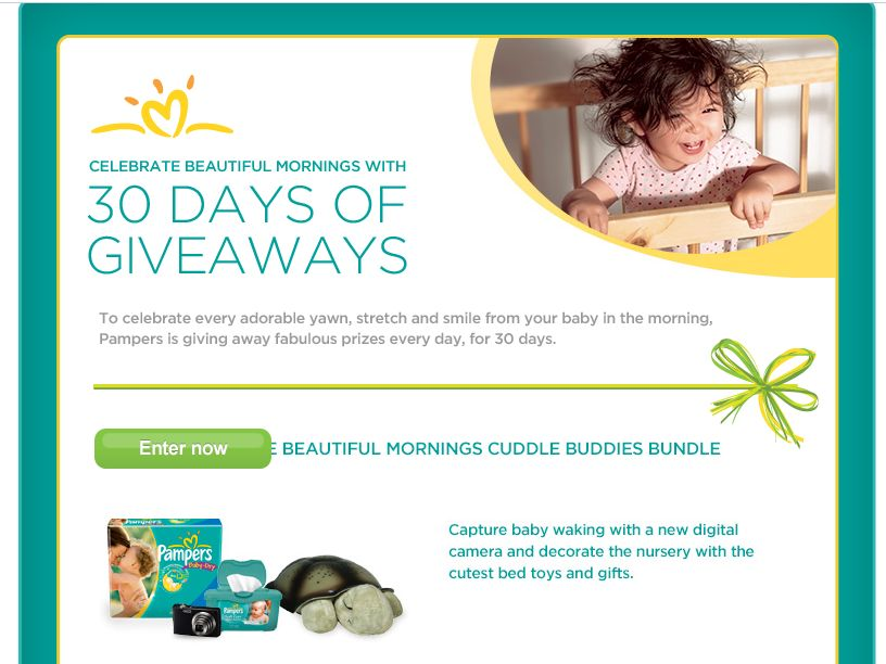 Pampers Millions of Beautiful Morning Moments 30 Days of Prizes Sweepstakes