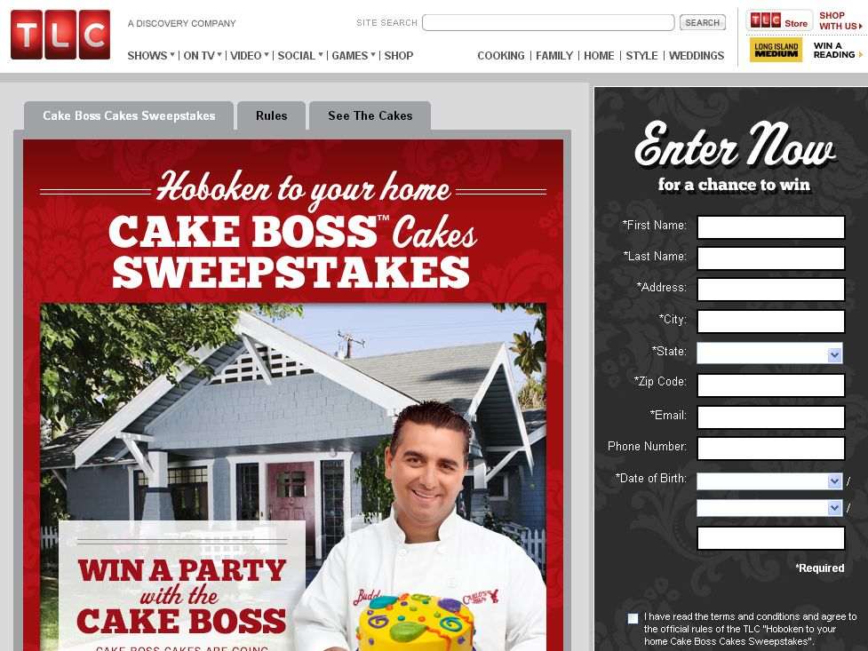 TLC Hoboken To Your Home Cake Boss Cakes Sweepstakes