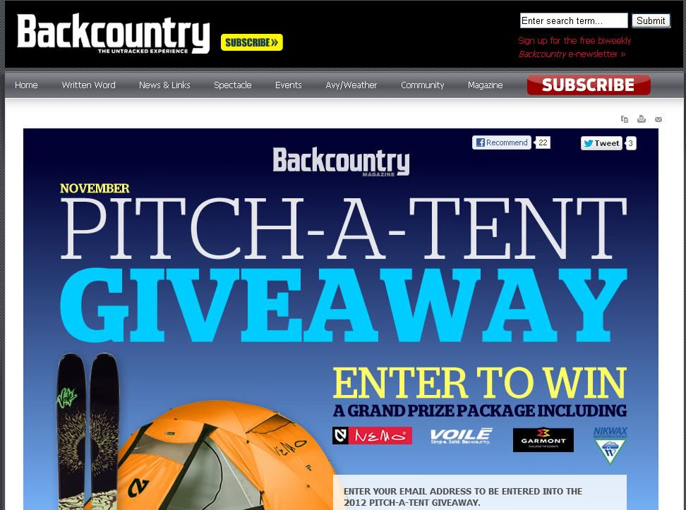 Backcountry Pitch-A-Tent Giveaway