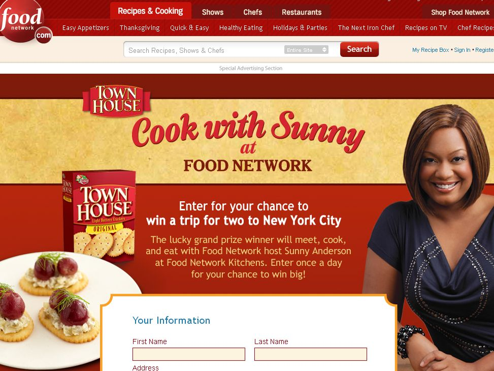 Cook With Sunny At Food Network Sweepstakes