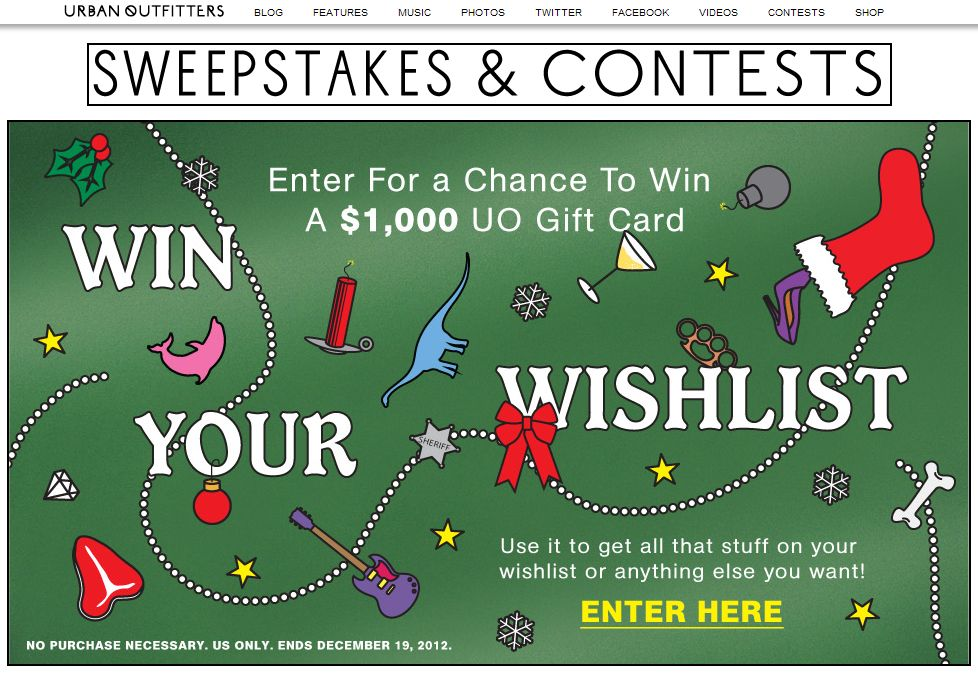 Urban Outfitters Win Your Wishlist Sweepstakes