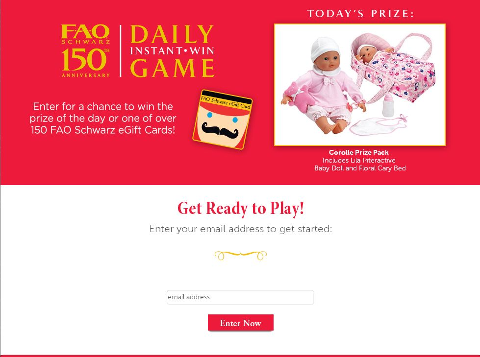 FAO Schwarz 150th Anniversary Instant Win Game