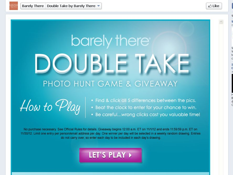 BARELY THERE DOUBLE TAKE GAME GIVEAWAY