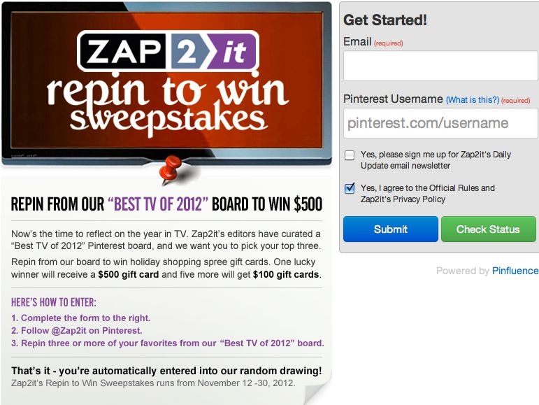 Zap2it Repin to Win Sweepstakes
