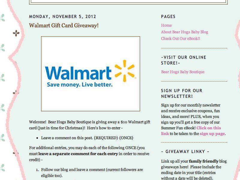 $10 Walmart Gift Card Giveaway