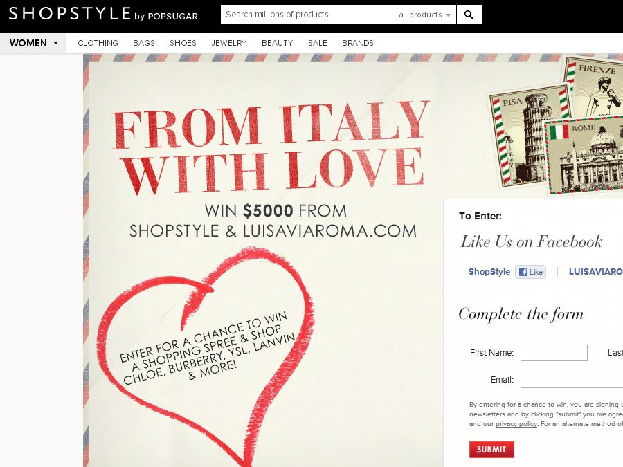 ShopStyle & LUISAVIAROMA From Italy With Love Giveaway