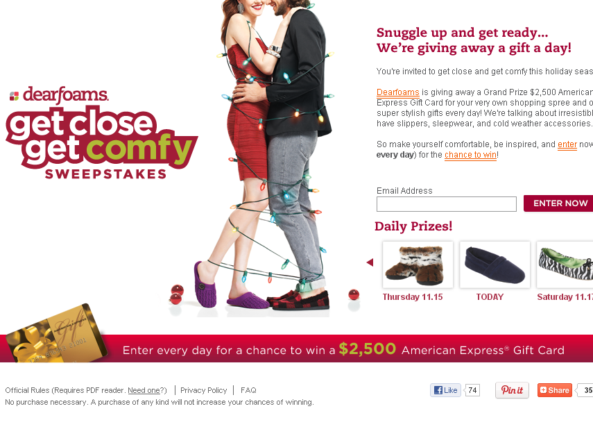 Dearfoams Get Close Get Comfy Sweepstakes
