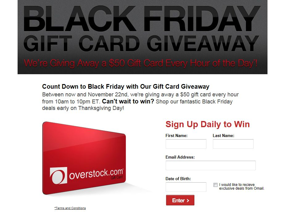 Overstock.com, Inc. Countdown to Black Friday Sweepstakes