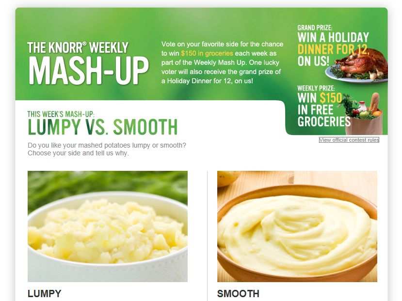 The Knorr Weekly Mash-Up Sweepstakes