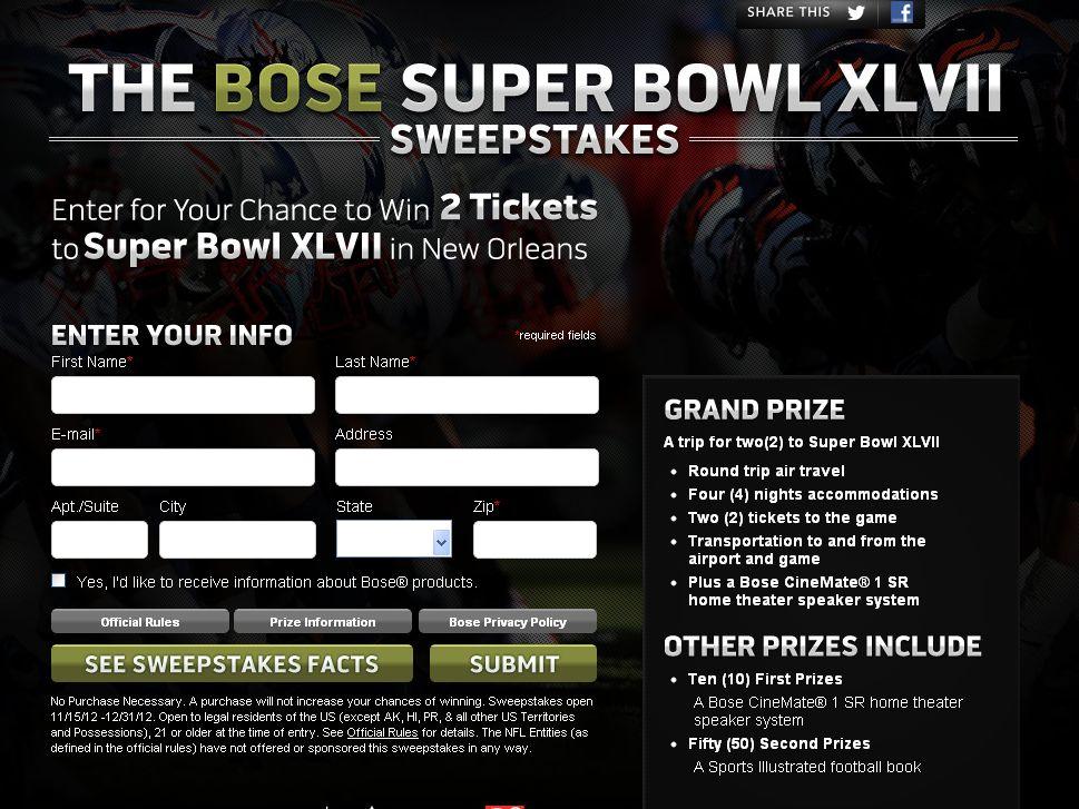 Bose Super Bowl XLVII Sweepstakes