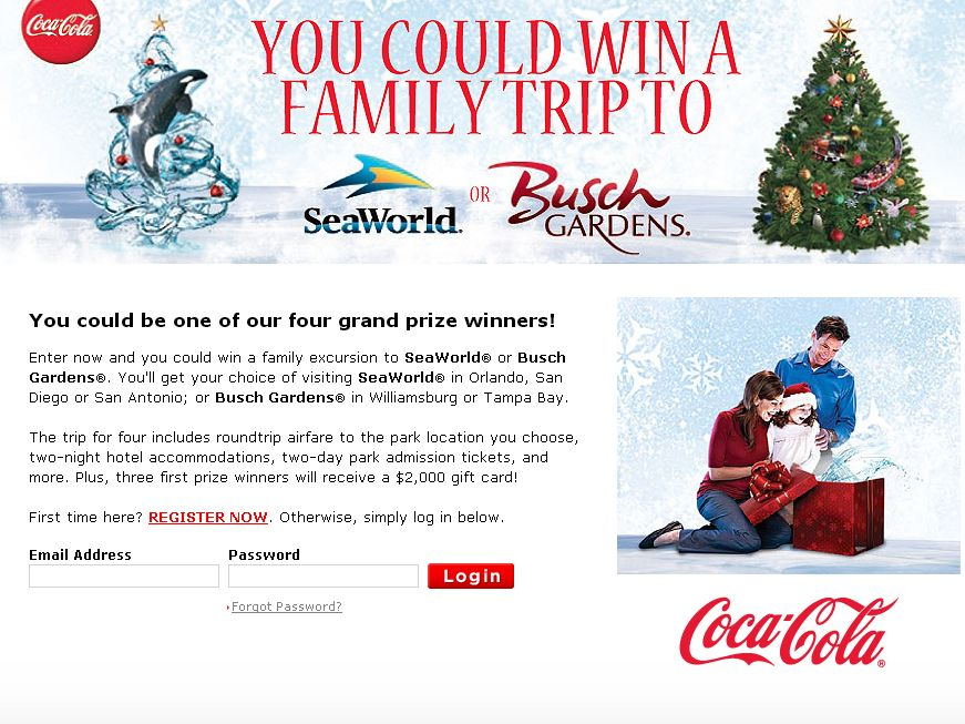 Coca Cola SeaWorld and Busch Gardens Family Holiday  Sweepstakes