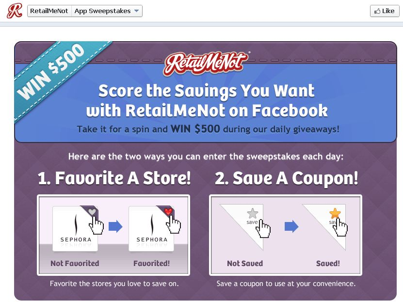 RetailMeNot On Facebook Sweepstakes