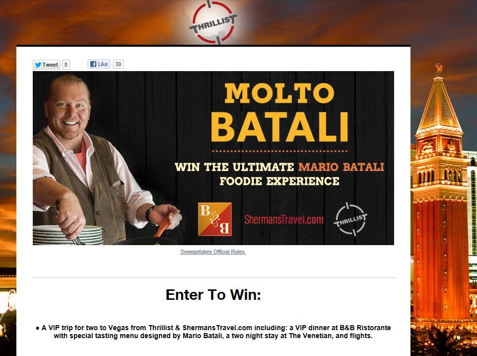 Win The Ultimate Mario Batali Fan Prize Sweepstakes