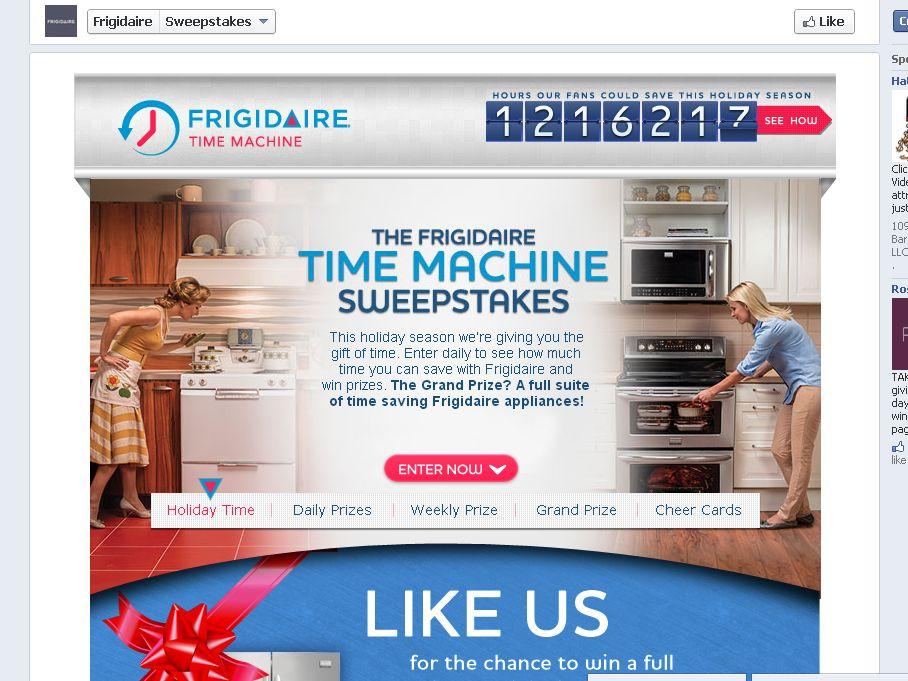 Frigidaire Time Machine Sweepstakes