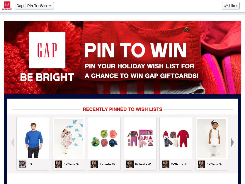 Gap Pin to Win Wish List Sweepstakes