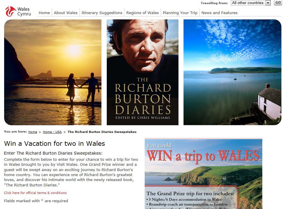 Richard Burton Diaries Sweepstakes