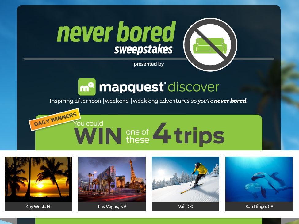 MapQuest Never Bored Sweepstakes and Instant Win Game