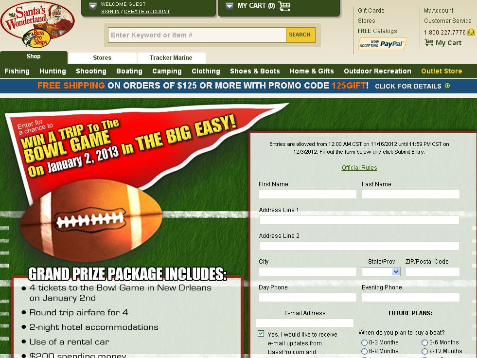 Bass Pro Shops Trip To The Big Game In The Big Easy Sweepstakes