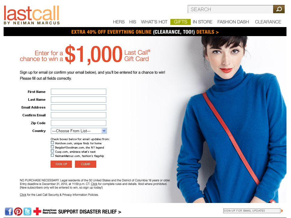 Neiman Marcus Last Call Gift Card Sweepstakes (code)