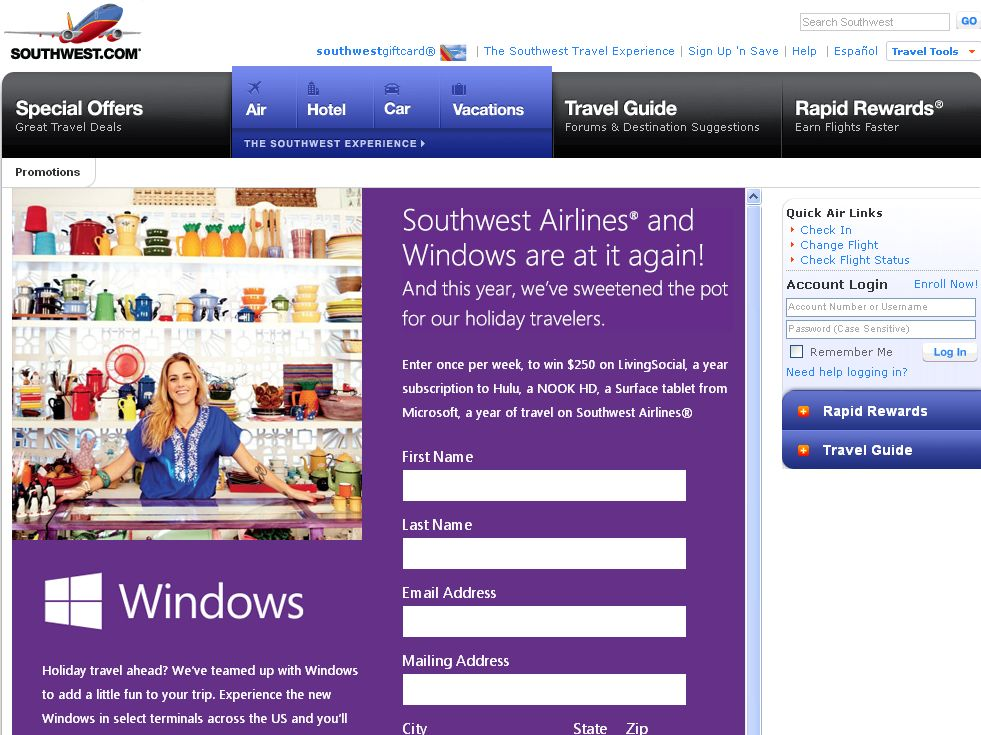Microsoft / Southwest Airlines Southwest Windows Online Sweepstakes 2012-13