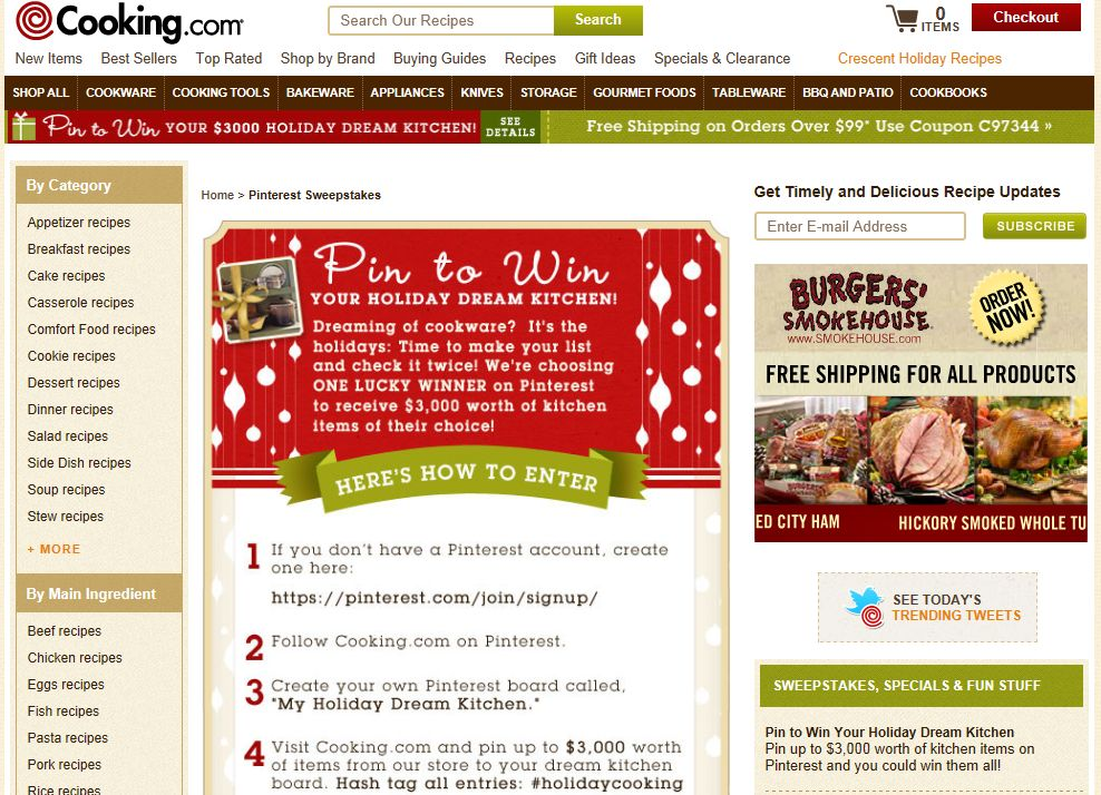 Cooking.com Pin to Win Your Holiday Dream Kitchen Contest